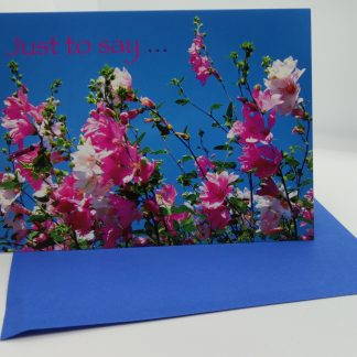 Greeting cards with envelope Blue Card with (Pink flower)