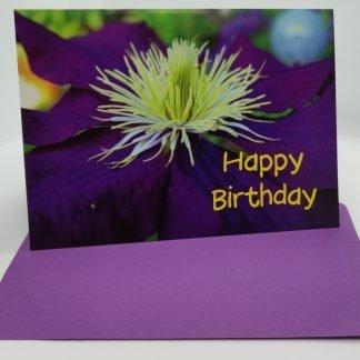 Happy Birthday-Greeting Card With Envelope (Purple Flower)