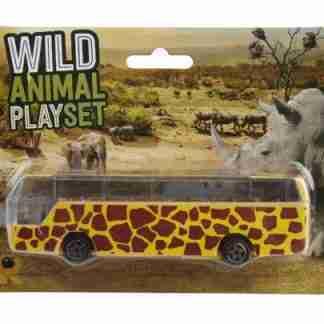 Wild Animal Safari Bus 14 x 4 x 3cm (Yellow)