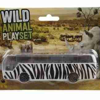 Wild Animal Safari Bus 14 x 4 x 3cm ( White/Black )