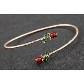 EQUILIBRIUM Red Roses Crossing Rose-Gold Plated Bangle