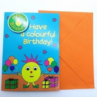 Birthday Card with Happy Birthday Badge-Miss Circle Shape