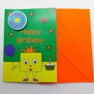 Birthday Card with Happy Birthday Badge-Mr Square Shape