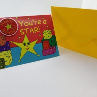 Birthday Card with Happy Birthday Badge-MISS STAR SHAPE