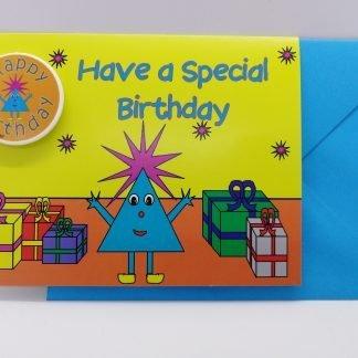 Birthday Card with Happy Birthday Badge-MR TRIANGLE SHAPE