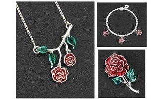 Equilibrium Rose - Rosebud Necklace, Brooch and Bracelet Set
